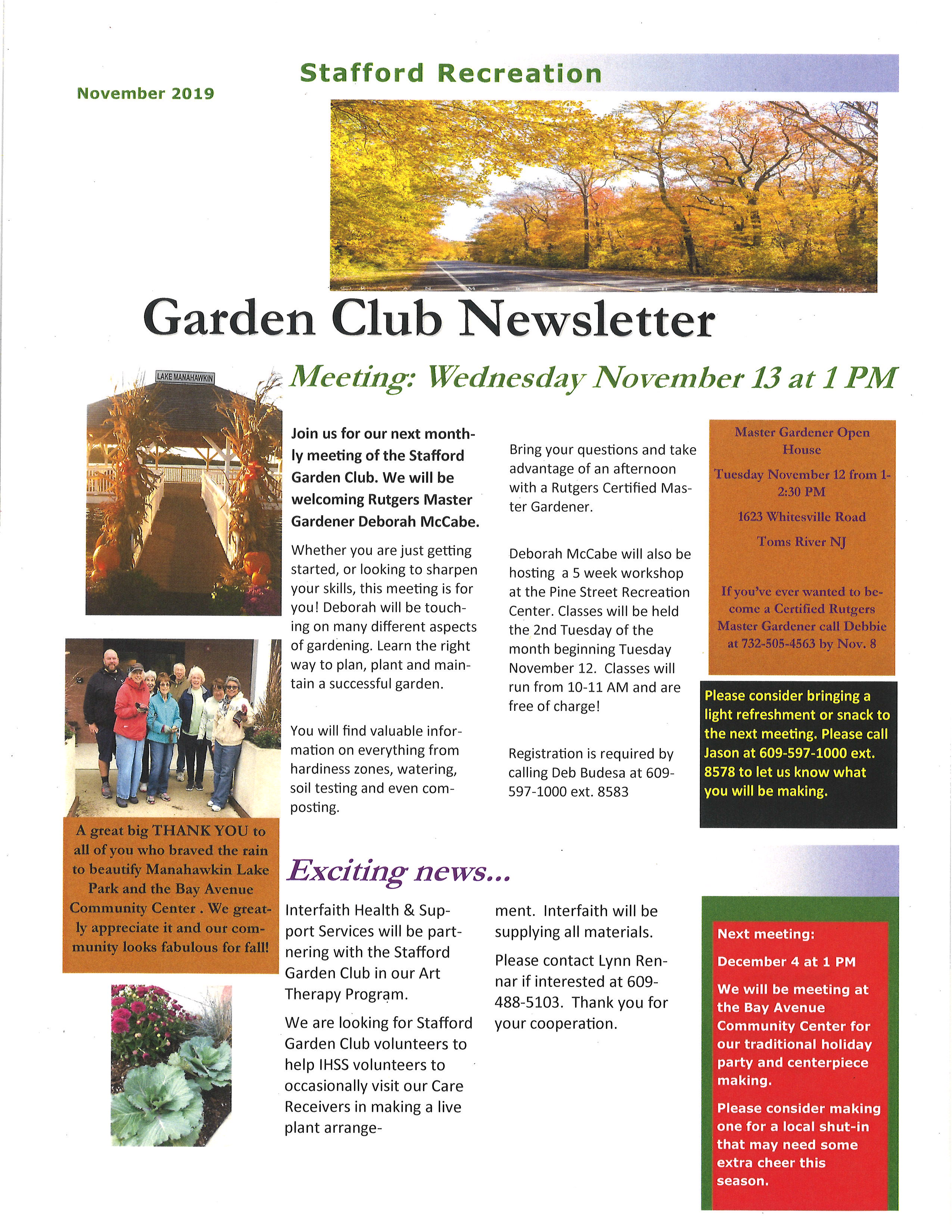 Garden Club Newsletter Nov 19